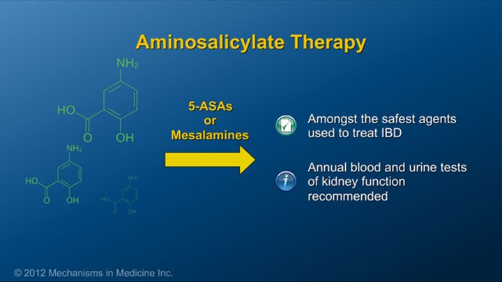 For example, although 5-aminosalicylates (which are known as 5-ASAs or mesalamines) are considered extremely safe and very effective to reduce colonic inflammation, it is recommended to have blood or urine tests of kidney function at least annually.slide show: preparing for ibd therapy. this slide show describes ways patients with inflammatory bowel disease ibd can prepare for their therapy and medications.
