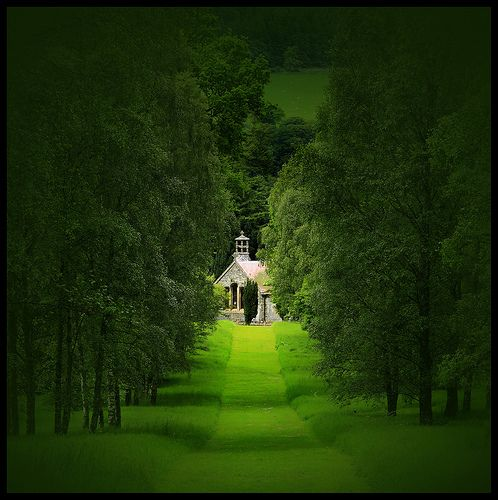 the green of the Botanical Gardens, Peebles, Scotland