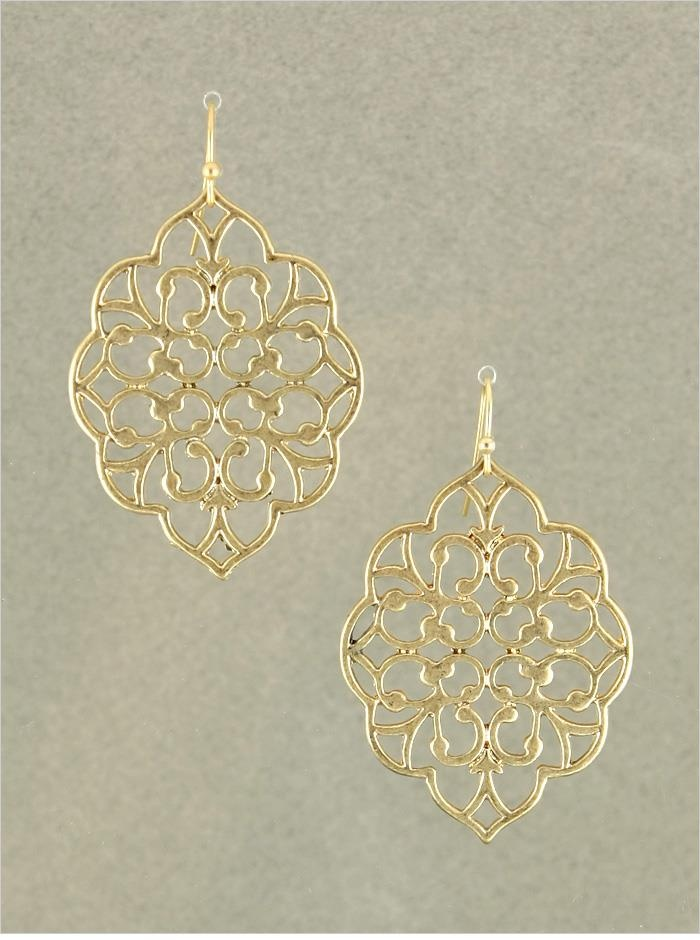 "Matte Gold Jane Earrings  1.75"" Long  Quantity: 3 $13.00"