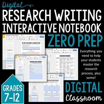 This interactive notebook is designed to help students easily and accurately master the research writing process.  Writing a Reach Paper PORTFOLIO: Grades 8-12 EDITABLEThis comprehensive portfolio will help your students master the research writing process in 6 steps-- indicated by organized tabs (topic selection, research, annotated bibliography, research outline, the writing process, and reflection).The portfolio is made up of 42 pages plus cover pages and tabs for each section. -Research…
