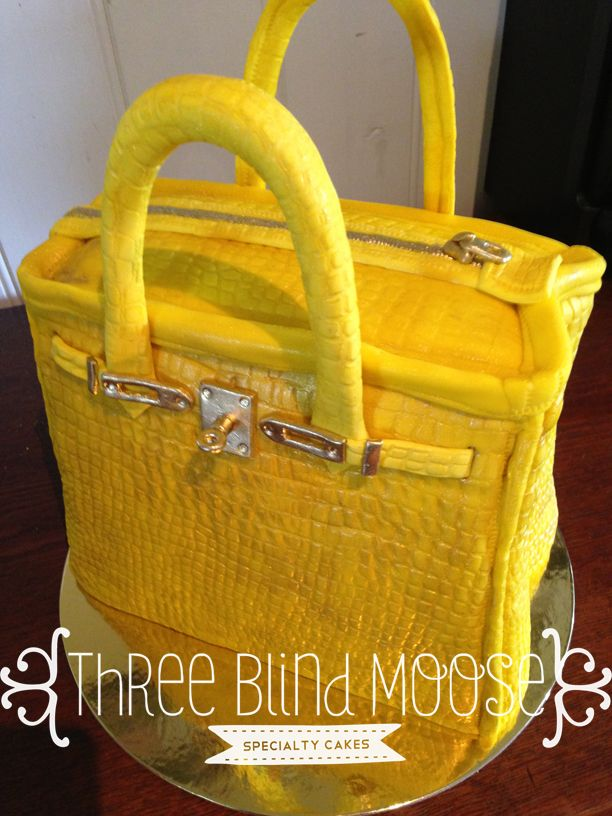 Yellow Alligator Skin Bag Cake With Gold Trimmings By