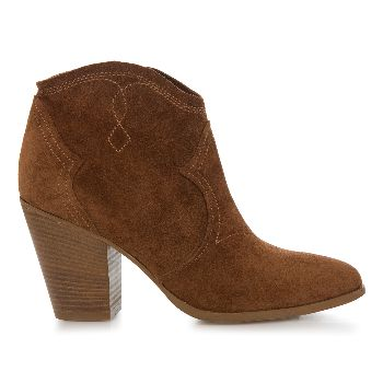 Cara Shoes Brown Cinnamon Lamb Suede Ankle Boots: Still in demand is the western styled ankle boot. Cara's interpretation for this season is Lamb, with a wooden effect stacked heel and embroidered stitch and shaping details to the suede. The dipped front allows a flattering angle to flash a bit of skin and the pointed toe shape adds a more feminine touch.