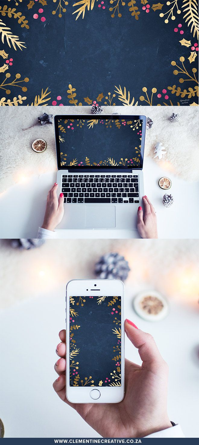 Get in a festive mood with this beautiful gold foil Christmas wallpaper! Download it for your computer, tablet or phone here.