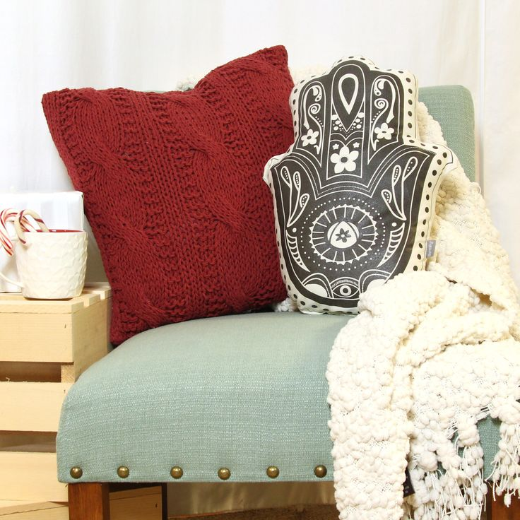 Cozy up with a Hamsa Hand Pillow and send good vibes your way!