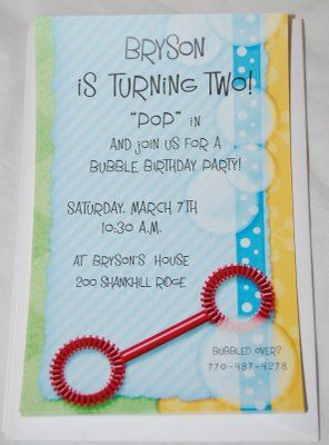 bubble birthday invitation