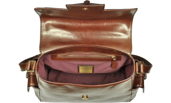 The Bridge Icons Marrone Leather Shoulder Bag at FORZIERI
