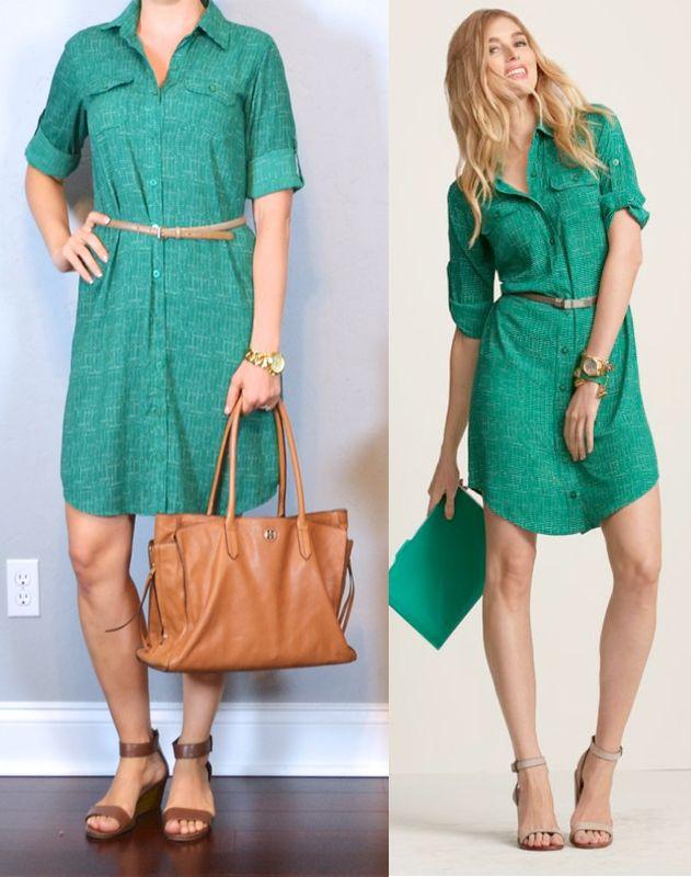 outfit post green shirt dress, gold belt, brown sandals