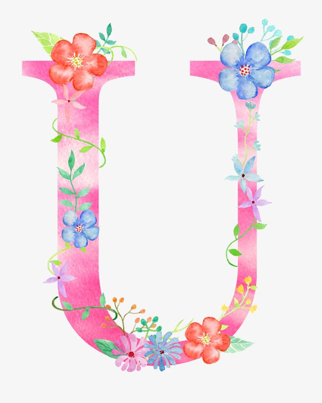 Flowers Letter U Letter Clipart Letter Flower Png Transparent Clipart Image And Psd File For Free Download Letras Do Alfabeto Frases Em Aquarela Tipografia Alfabeto