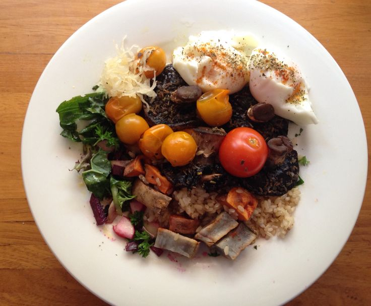 2 Poached eggs sprinkled with -Turmeric  -Oregano  -Black pepper   6oz Mushrooms and tomatoes -steamed on low heat -in 1/2 a cup of water -1tbsp fish oil -1tbsp organic wheat free soy sauce And a pinch of dried sage  - and a tbsp sauerkraut   -3oz Sweet potato (baked) And brown rice