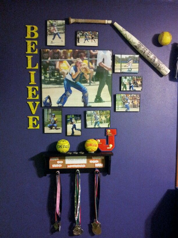 Softball picture collage w/medals & trophies