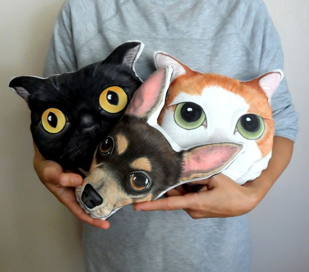 Cat Cushions – Custom Pet Portrait Pillow Plush, cat dog portrait – a unique product by Shebbodesign on DaWanda