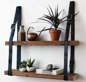 Upcycled belts made into shelving