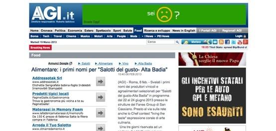 I Salotti del Gusto su AGI: http://www.agi.it/food/notizie/201302081040-eco-rt10070-alimentare_i_primi_nomi_per_salotti_del_gusto_alta_badia