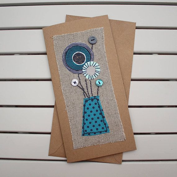 Blank Card - Handmade - Fabric Collage - Hand Sewn - Turquoise Vase of Flowers