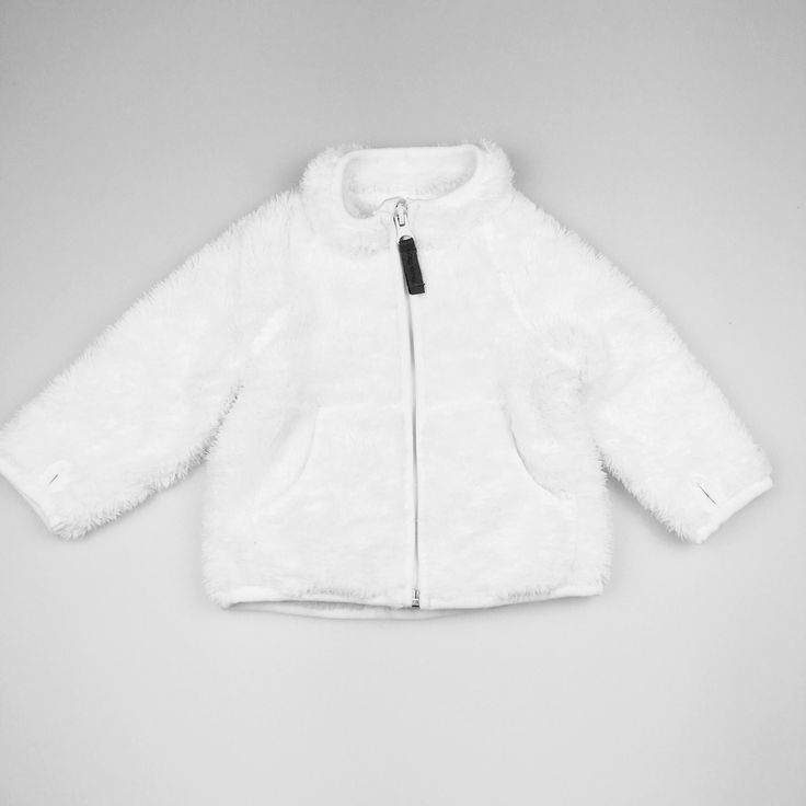 H&M, super-soft, fluffy, fleece zip-up baby's jacket with pockets, excellent pre-loved condition (EUC), size 00, $8