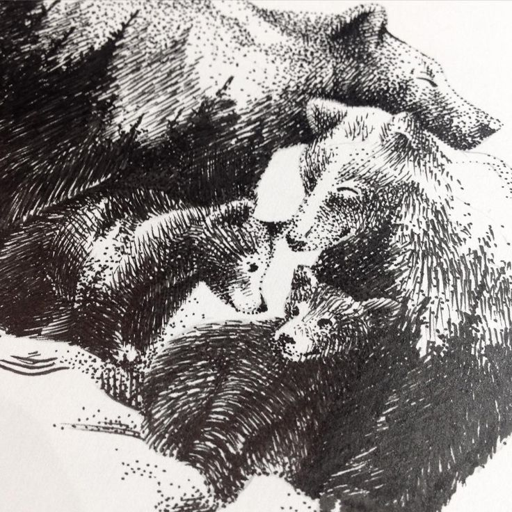 Bear family tattoo design