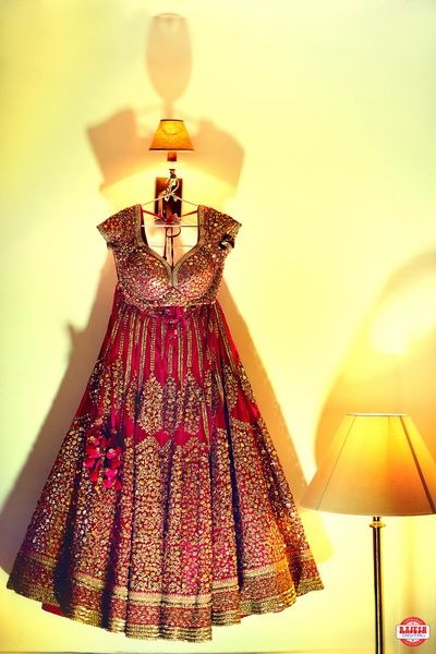 anarkali on hanger, bridal outfit on hanger, marsala outfit, marsala anarkali…