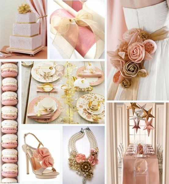 Thinking blush pink, gold, cream, and black...