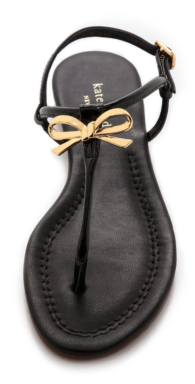 Black ribbon sandals - Kate Spade New York Tracie Bow Thong Sandals Shopbop