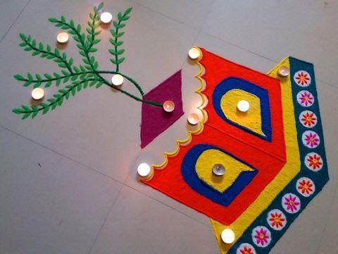 Beautiful and creative multicoloured rangoli design by DEEPIKA PANT - YouTube