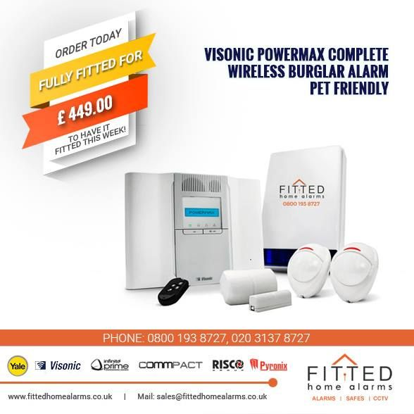 Visonic PowerMax Complete Wireless Burglar Alarm PET Friendly Get up to 25% off Phone: 0800 193 8727, 020 3137 8727 Mail: sales@fittedhomealarms.co.uk PowerMax Complete Features: Built-in PSTN communicator. Easy-to-add internal GSM/GPRS and/or IP* communications modules for maximum alarm reporting reliability to the central station and back-up for the standard PSTN lines. Voice functionality option: two-way voice communication, voice prompts and family message center.
