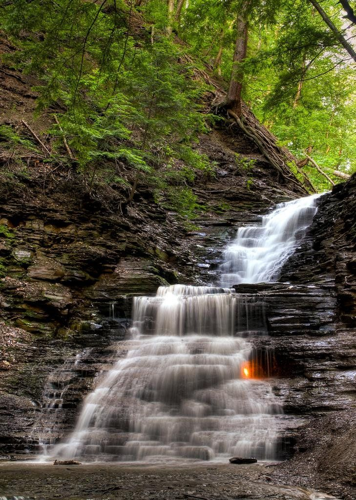 Eternal Flame Falls / Chestnut Ridge Park / Buffalo / New York / A pocket of natural methane gas constantly burning behind a waterfall in New York state