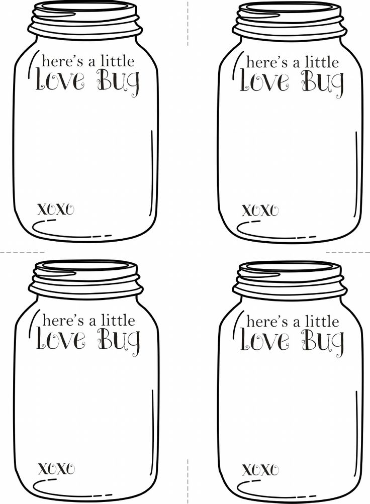 "Valentine's Love Bug Cards - Free printable Empty jar - ready to ""fill"" as you wish - tape on a fake rubber bug or felt hearts... it's up to you!"
