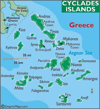 Map of Cyclades Islands Santorini is located to the most South of this  Island Complex