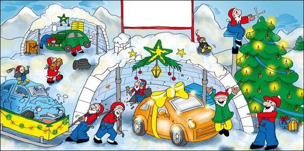 Weihnachtskarten für die KFZ Branche - Artikel 13007 - Reparaturwerkstatt