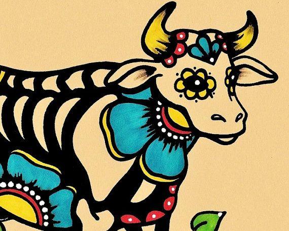 Day of the Dead COW Skeleton Dia de los Muertos by illustratedink