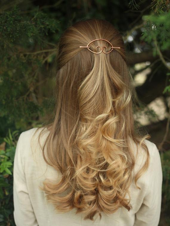 Textured copper hair barrette brass hair slide silver hair clip rustic shawl pin scarf pin brooch si