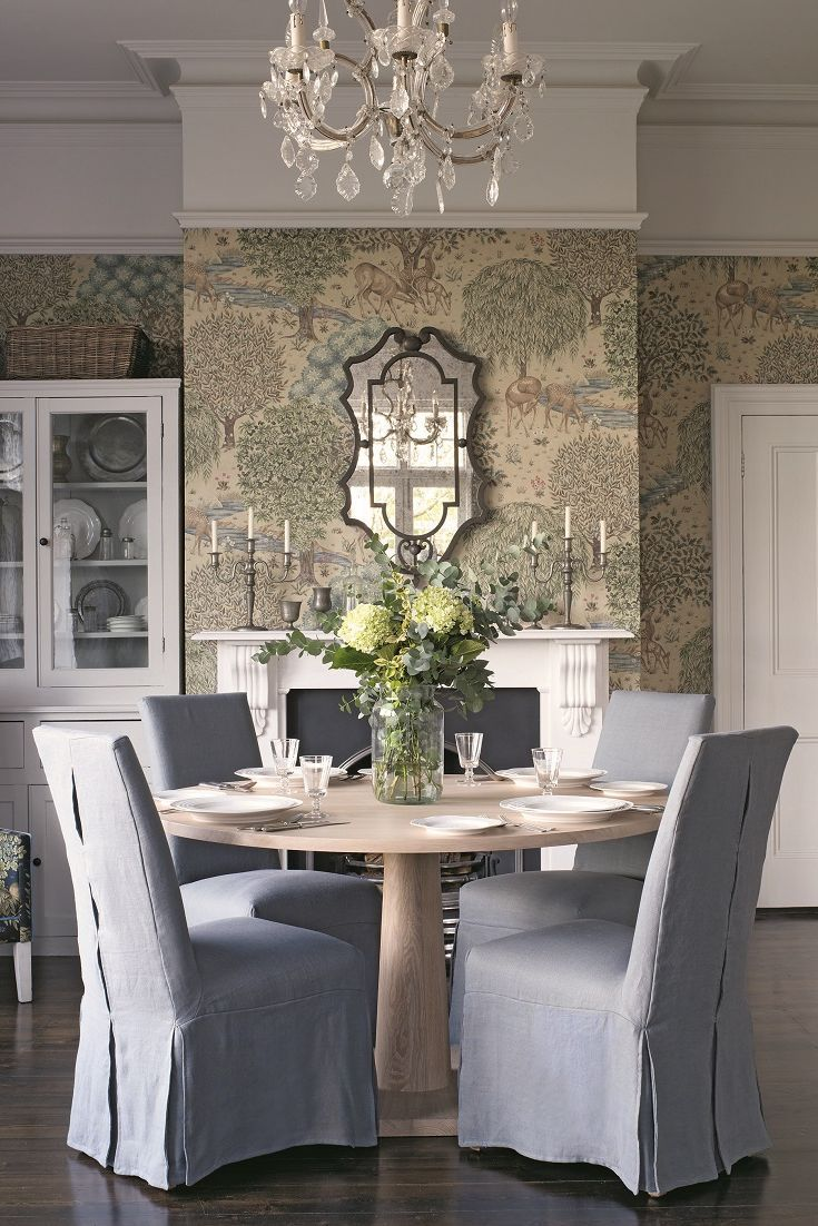 Elegant Wallpaper Design Inspired By The Brook And Holy Grail Tapestries DesignsWallpaper IdeasRoom WallpaperTapestriesDining Room