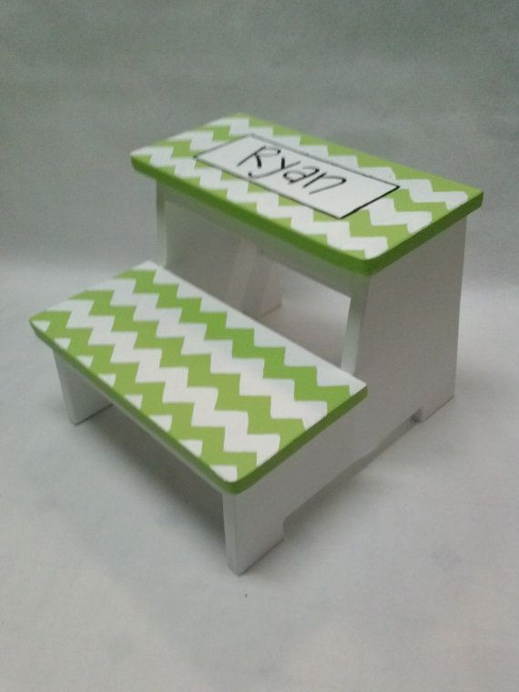 Childrens step stool chevron with name by wouldknots on for Bathroom step stool for toddlers