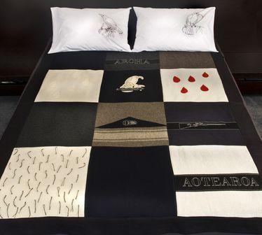 Rona Ngahuia Osborne Native Agent Bed cover 12 panel via @CleverBastards