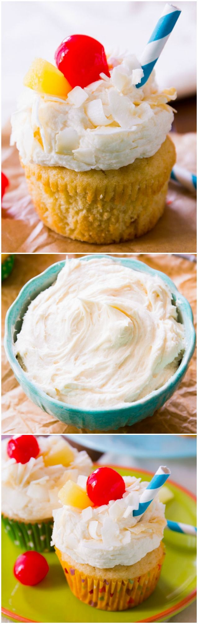 Extra moist pineapple coconut cupcakes topped with coconut frosting. One of the best cupcakes I've ever made!