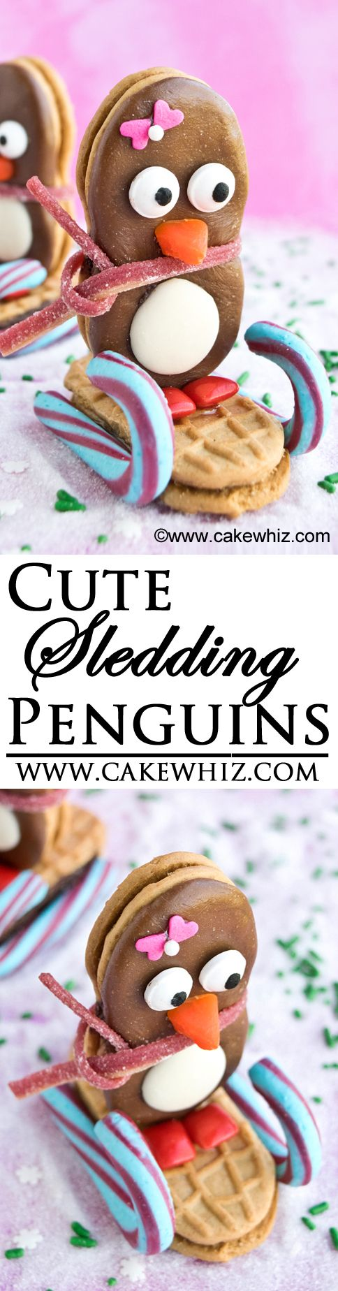Learn how to make these stylish NUTTER BUTTER PENGUINS, sledding down a sugary sparkly slope! Fun for kids to make at Winter or Christmas parties. From cakewhiz.com {Ad} #nuttyfortheholidays
