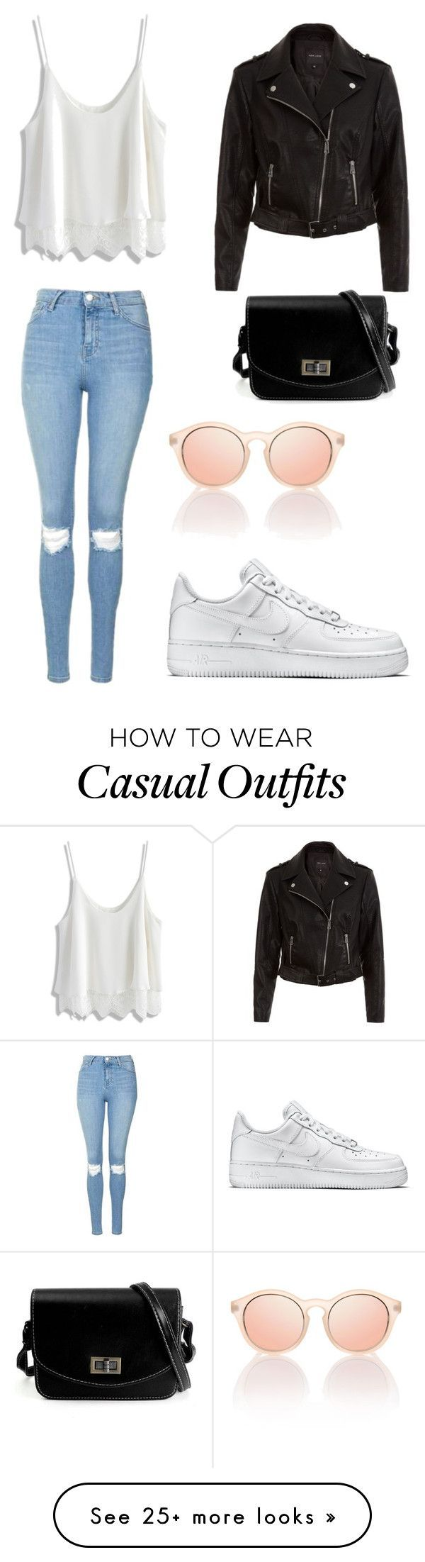 """Casual"" by adeelaafra on Polyvore featuring Topshop, Chicwish, New Look and NIKE"
