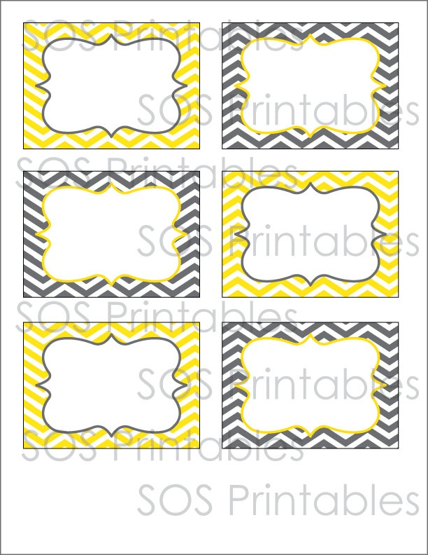 Gray and Yellow Chevron Labels - Printable PDF. $2.50, via Etsy.
