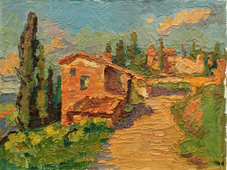 An Original Oil Painting Of Tuscan Hill Town Near Penzia