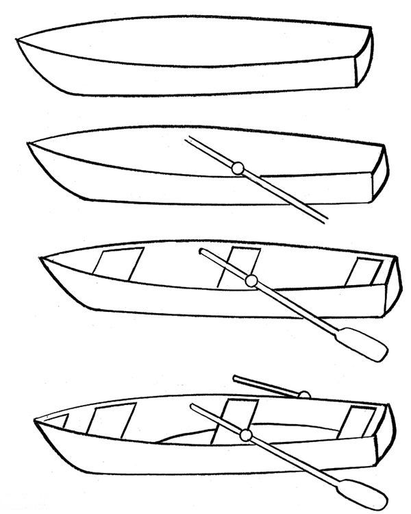 step by step how to draw a fishing boat how to draw a