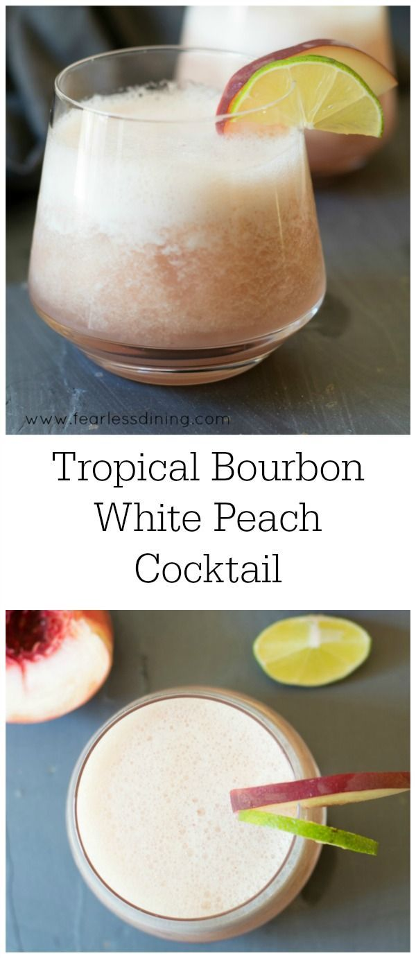 Bourbon Tropical Peach Cocktail recipe is something you will love. Fresh white peaches make this bourbon cocktail recipe so good. Fruity bourbon recipe. Serve on the rocks, frozen, or straight up. Easy bourbon cocktail recipe