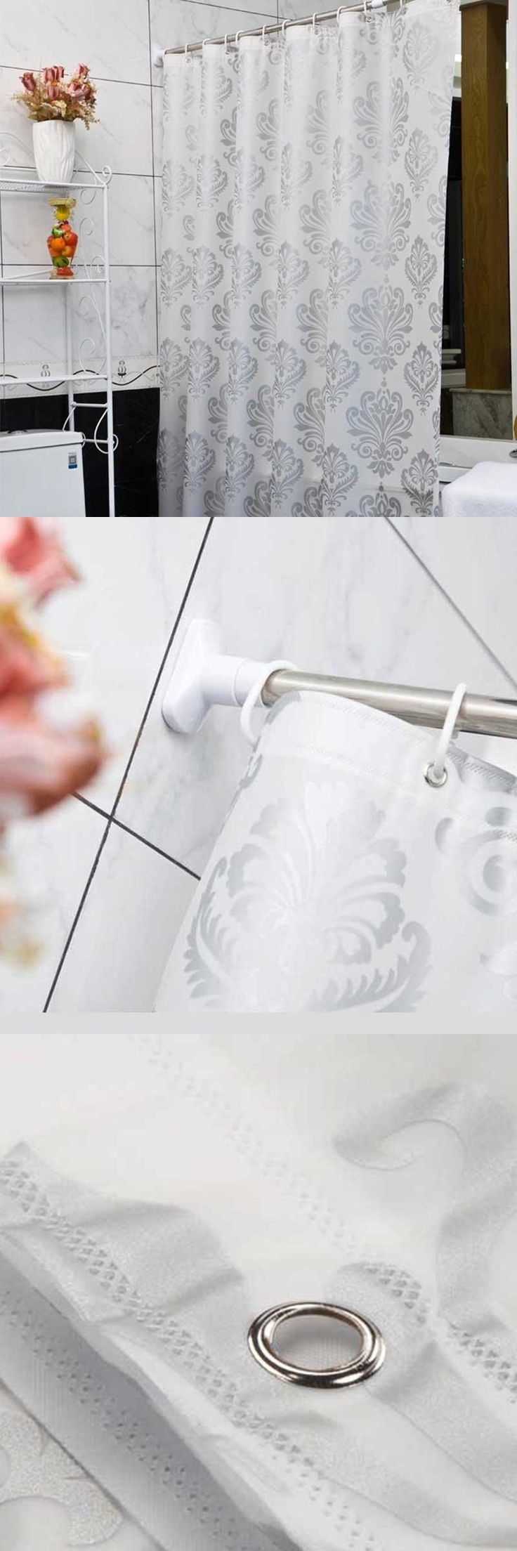 [Visit to Buy] Europe White PEVA Bath Curtains Flower Eco-friendly Waterproof Shower Curtain Bathroom Product Cortina Ducha High Quality #Advertisement