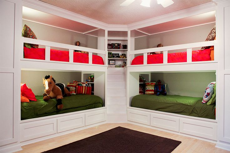 Built in bunk beds from Prairie Hive Magazine.  Bright, cheery kids room with maximized space.