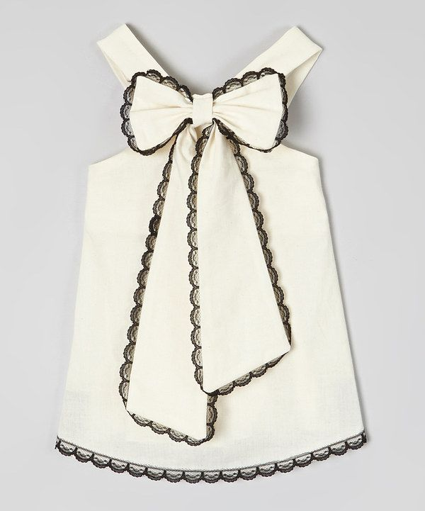 Look at this Ivory & Black Scalloped-Lace Top - Infant, Toddler & Girls on #zulily today!