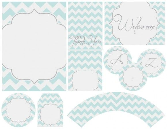Chevron party printables - A-Z banner also available