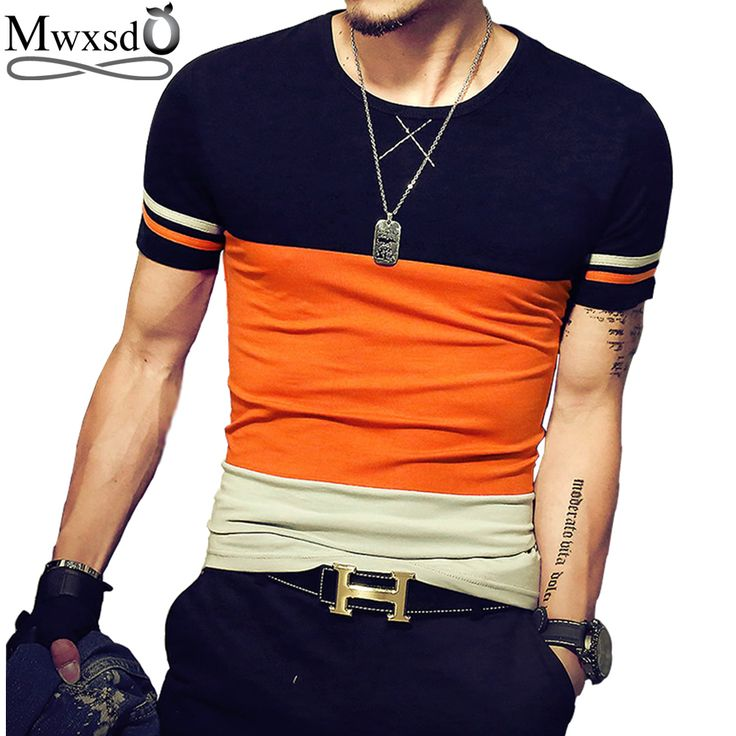 2017 brand Men's stiped T Shirt summer male Casual Cotton slim fit patchwork color T shirt homme mens social tees size 4xl 5xl #Affiliate