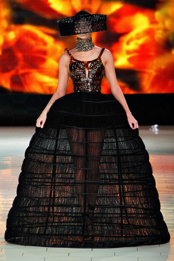 Alexander McQueen Spring 2013....I'm not sure which is more funky...the hat or the skirt?