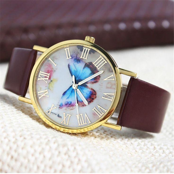 Reloj de pulsera de lujo Womens Butterfly Style Leather Band Analog Quartz Wrist Watch for Ladies outdoor travel shopping Oct13 #women, #men, #hats, #watches, #belts, #fashion, #style