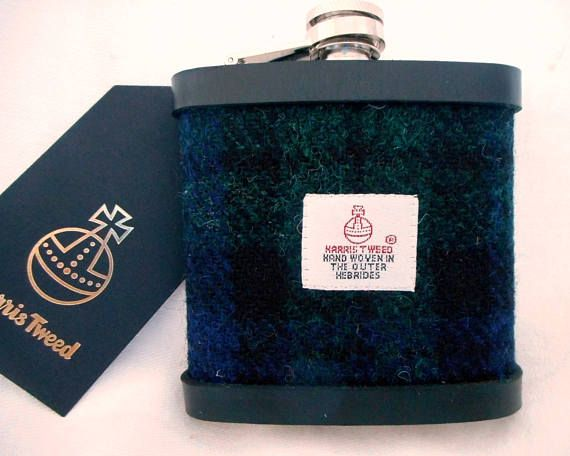 Black Watch Tartan Harris Tweed hip flask mens gift made in