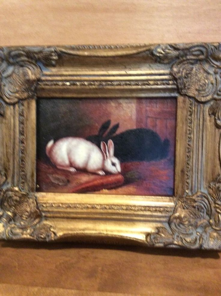 Country French Framed Oil Painting Two Rabbits Finishing